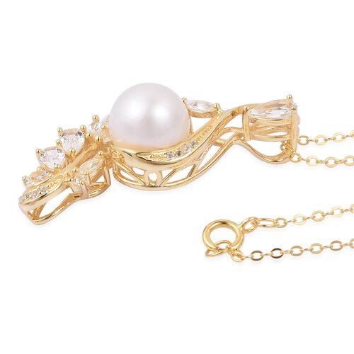 South Sea White Pearl (Rnd 9-10 mm), White Topaz Pendant with Chain (Size 18) in Yellow Gold Overlay Sterling Silver