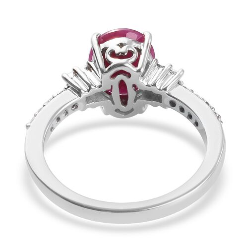 RHAPSODY 950 Platinum AAAA Burmese Ruby (Oval 9x7 2.00 Ct)  and Diamond Ring 2.35 Ct.