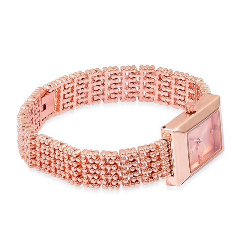 Designer Inspired- Diamond Studded GENOA Japanese Movement Bracelet Watch in Rose Gold Tone