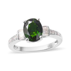 2.18 Ct Natural Russian Diopside and Diamond Solitaire Design Ring in Rhodium Plated Silver