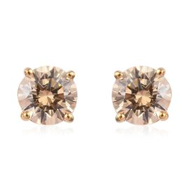 J Francis - 14K Gold Overlay Sterling Silver (Rnd) Stud Earrings (with Push Back) Made with Yellow S