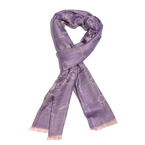 Purple and Silver Colour Flower Pattern Jacquard Scarf (Size 190x70 Cm)