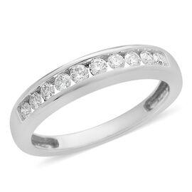 ILIANA 0.33 Ct Diamond Half Eternity Band Ring in 18K White Gold 3.32 Grams IGI Certified SI GH