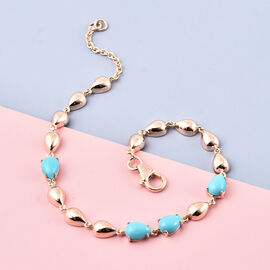 LucyQ Arizona Sleeping Beauty Turquoise Drop Bracelet (Size - 7.5) in Rose Gold Overlay Sterling Silver 2.65 Ct.