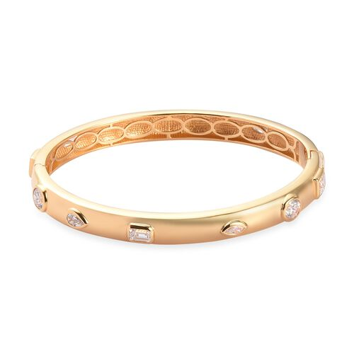 J Francis 14K Gold Overlay Sterling Silver Bangle (Size 7.5) Made with SWAROVSKI ZIRCONIA 9.61 Ct, S