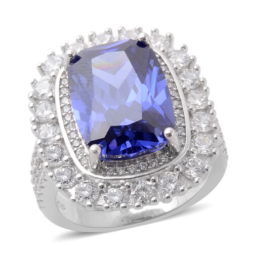 ELANZA Simulated Tanzanite and Simulated Diamond Ring in Rhodium Plated Silver 6.86 Grams