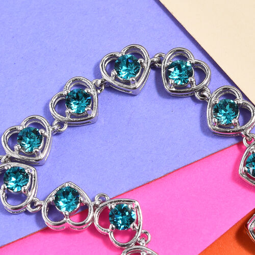 J Francis - Crystal from Swarovski Indicolite Crystal (Rnd) Heart Bracelet (Size 6.5 with 1 inch Extender) in Platinum Plated