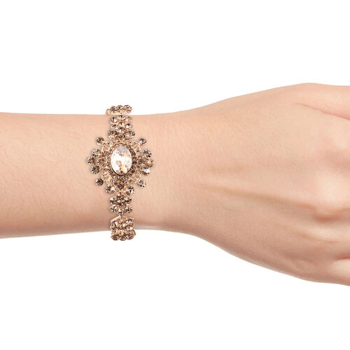 Simulated Champagne Diamond (Ovl), Champagne Colour Austrian Crystal Bracelet (Size 7.5) in Yellow Gold Tone