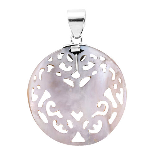 Royal Bali Collection - Light Gold Shell Butterfly Pendant in Sterling Silver