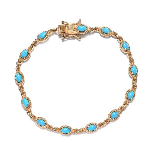 Arizona Sleeping Beauty Turquoise Braceler (Size 7.5) 14K Gold Overlay Sterling Silver 3.24 Ct, Silv
