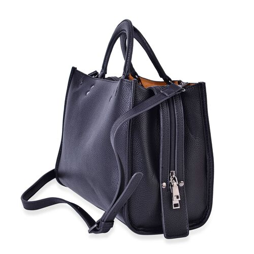 Black Colour Tote Bag with Adjustable and Removable Shoulder Strap (Size 31x25x13 Cm)