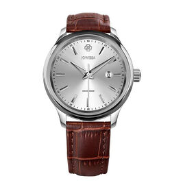 JOWISSA Tiro Swiss Mens 5 ATM Water Resistant Watch with Alligator Print Genuine Leather Strap - Sil