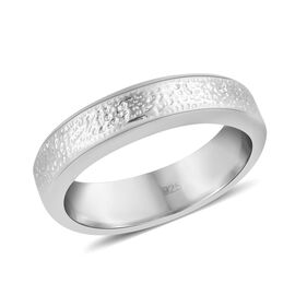 Platinum Overlay Sterling Silver Band Ring, Silver 5.00 Gms