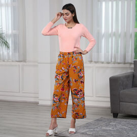 Floral Printed Trousers - Yellow