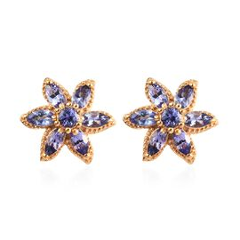 1.25 Ct Tanzanite Floral Stud Earrings in Gold Plated Sterling Silver