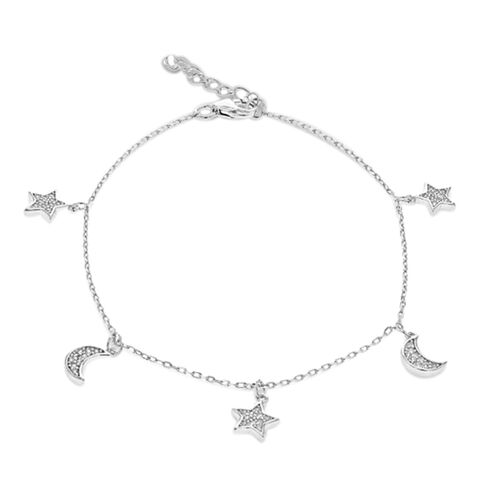 Sterling Silver Adjustable Moon and Star Charm Bracelet (Size 6 with 1 inch Extender)