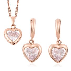 2 Piece Set - Simulated Diamond (Hrt) Earrings (with Clasp) and Pendant with Chain (Size 18 with 2 i