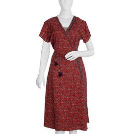 Screen Printed Red Colour Wrap Dress (Size XL/XXL)
