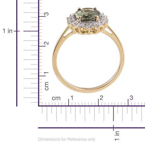 Collectors Edition- 14K Yellow Gold Very Rare Size AAA Green Tanzanite (Ovl 2.45 Ct), Natural Cambodian Zircon Ring 3.500 Ct.