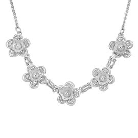 Royal Bali Floral Necklace in Sterling Silver 9.64 Grams 18.5 With 1 Inch Extender