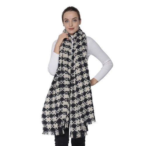 Black and White Check Scarf (Size 95x200cm)