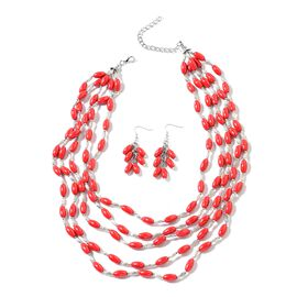 2 Piece Set - Red Howlite (14x8 mm) Necklace (Size 20 with 2 inch Extender) and Hook Earrings in Bla