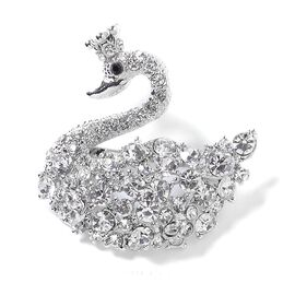 Hand Crafted White and Black Austrian Crystal (Rnd) Swan Brooch