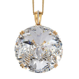 J Francis White Crystal from Swarovski Pendant With Chain in Gold Plated Sterling Silver 15.74 Gms