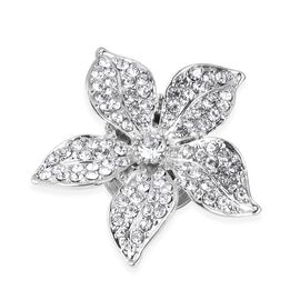 White Austrain Crystal Flower Magnetic Brooch in Silver Plated