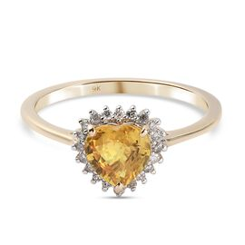 9K Yellow Gold AA Yellow Sapphire and Diamond Ring 1.02 Ct.