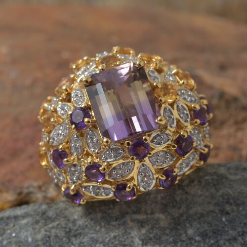 AAA  Anahi Ametrine (Oct 4.80 Ct), Amethyst and Multi Gem Stone Cluster Ring in 14K Gold Overlay Sterling Silver Ring 8.750 Ct, Silver wt 11.44 Gms.