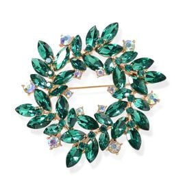 Simulated Emerald (Mrq), Green Austrian Crystal, Magic Colour Austrian Crystal Flower Wreath Brooch in Yellow Gold Tone