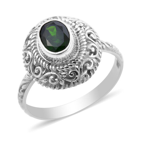 Royal Bali Collection - AA Russian Diopside Ring in Sterling Silver 1.25 Ct.