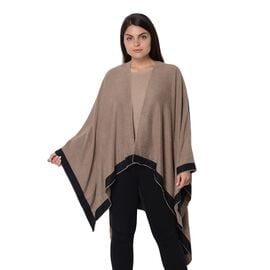 Reversible Black and Khaki Loose Fitting Kimono (L-80 Cm)
