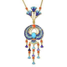 GP - AA Arizona Sleeping Beauty Turquoise and Blue Sapphire Enamelled Necklace (Size 18) in 14K Gold