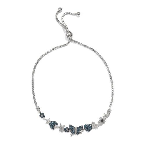 GP Blue Diamond (Rnd), Kanchanaburi Blue Sapphire Adjustable Bracelet (Size 9.5) in Platinum and Black Overlay Sterling Silver 0.770 Ct.