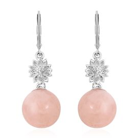 Moroppino Morganite (Rnd), Natural White Cambodian Zircon Lever Back Earrings in Rhodium Overlay Ste