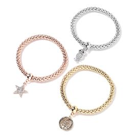 Set of 3 White Austrian Crystal (Rnd), Black Austrian Crystal Bracelet (Size 6.5 - 8.25 Inches) with Star,Owl and Round Charm in Silver, Rose and Yellow Gold Plated
