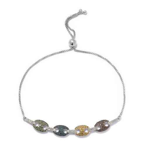 Multi Colour Diamond (Rnd) Mariner Link Bracelet (Size 6.5 - 9.5 Adjustable) in Platinum Overlay Ste