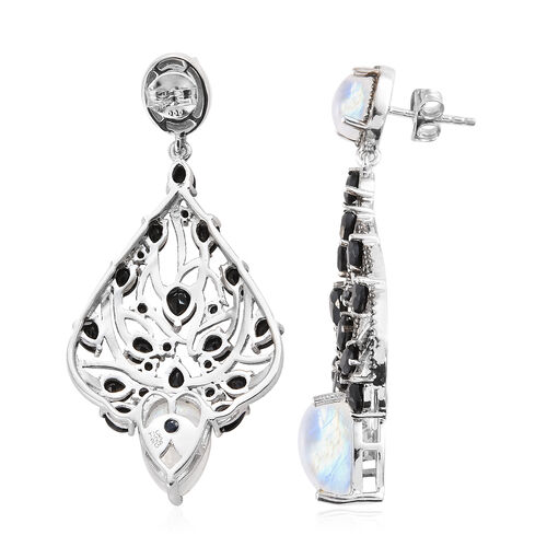 GP Rainbow Moonstone (Pear), Boi Ploi Black Spinel, Kanchanaburi Blue Sapphire Earrings (With Push Back) in Platinum Overlay and Black Plating Sterling Silver 18.250 Ct, Silver wt 9.99 Gms.