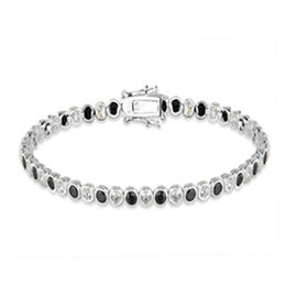 Cubic Zirconia Tennis Bracelet in Rhodium Plated Sterling Silver 7.5 Inch
