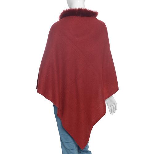 100% Pashmina Wool Maroon Colour Poncho (Size 70x70 Cm)