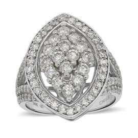 14K White Gold Diamond (I1/G-H) Ring 2.00 Ct, Gold wt 6.90 Gms