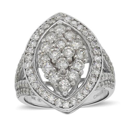 14K White Gold Diamond (I1/G-H) Ring 2.00 Ct, Gold wt 6.90 Gms