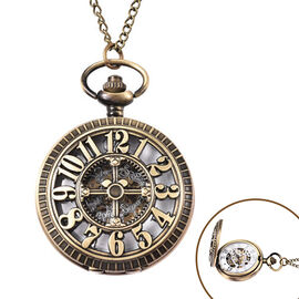GENOA Automatic Mechanical Hollow-Out Numeric Pattern Pocket Watch with Chain in Antique Bronze Tone
