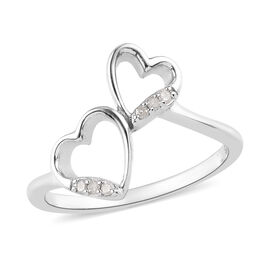 Diamond Hearts Ring in Platinum Overlay Sterling Silver