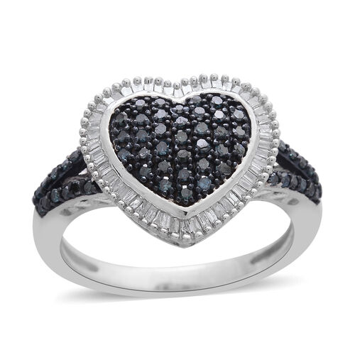 Blue Diamond (Rnd), White Diamond Heart Ring in Black Rhodium and Platinum Overlay Sterling Silver 0.500 Ct.