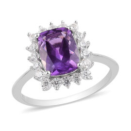 Moroccan Amethyst and Natural Cambodian Zircon Halo Ring in Platinum Overlay Sterling Silver 2.54 Ct