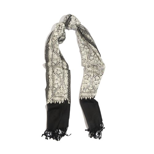 100% Merino Wool White Colour Mystic Sequins Embroidered Black Colour Scarf with Fringes at the Bottom (Size 200x70 Cm)