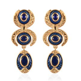 Tanzanian Blue Spinel Enamelled Dangle Earrings (with Push Back) in 14K Gold Overlay Sterling Silver